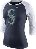 Nike Women's Seattle Mariners Tri Logo Raglan T-Shirt