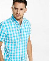 Express soft wash short sleeve checked shirt