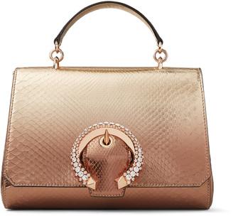 Jimmy Choo MADELINE TOP HANDLE Metallic Degrade Python Top Handle Bag with Crystal Buckle