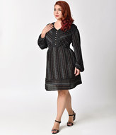 Unique Vintage Plus Size 1970s Retro Style Black Printed Long Sleeved Flare Dress