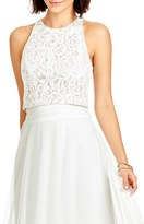 Women's Dessy Collection Lace Halter Style Crop Top