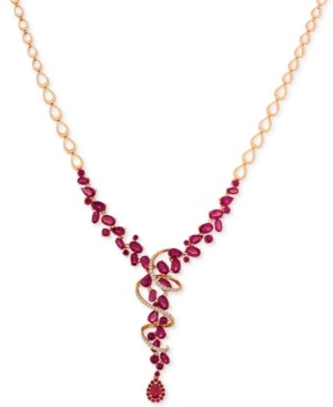 LeVian Le VianCertified Passion Ruby (14-5/8 ct. t.w.) & Diamond (3/8 ct. t.w.) Lariat Necklace in 14k Rose Gold