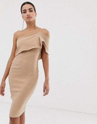 Vesper one shoulder bodycon dress in taupe-Brown