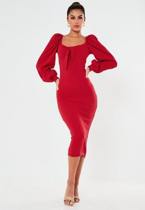 Missguided Red Ribbed Tie Front Balloon Sleeve Midaxi Dress
