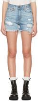 R 13 Blue Denim Shredded Slouch Shorts