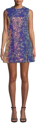 Nicole Miller Sequin Tweed Sleeveless Mini Shift Dress