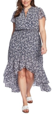 1 STATE Trendy Plus Size Wildflower Bouquet Printed High-Low Dress
