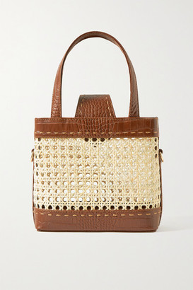 MEHRY MU Fey Mini Rattan And Croc-effect Leather Tote - One size