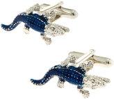 Jan Leslie Caiman Lizard Cuff Links, Navy Blue