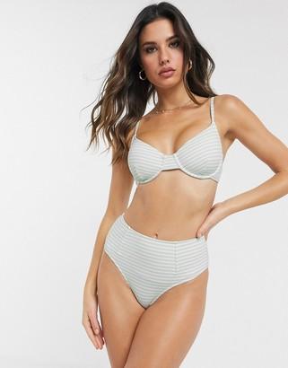 Zulu & Zephyr ribbed underwire bikini top in pale green stripe