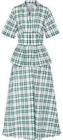 Rosie Assoulin Boogie Woogie Bugle Boy Checked Seersucker Organza Maxi Dress - Dark green