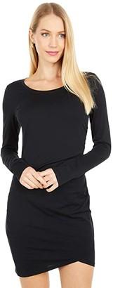 bobi Los Angeles Supreme Jersey Long Sleeve Shirred Mini Dress (Black) Women's Clothing