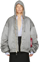 Vetements Reversible Grey Alpha Industries Edition Hooded Bomber Jacket