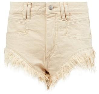 Isabel Marant Eneida Frayed-hem Denim Shorts - Womens - Ivory