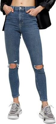 Topshop Jamie Ripped High Waist Crop Skinny Jeans