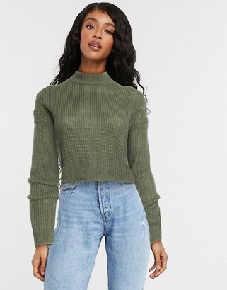 Brave Soul pine cropped turtleneck jumper in fisherman knit