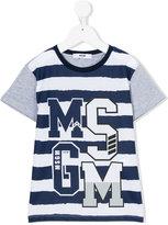 MSGM striped logo print T-shirt - kids - Cotton - 4 yrs
