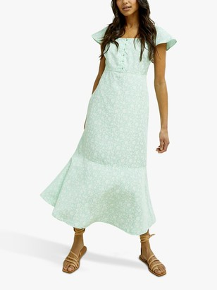 People Tree Pippa Floral Maxi Dress, Green/White