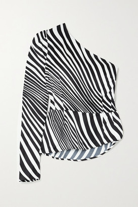 De La Vali Alabama One-sleeve Striped Satin Top - Black