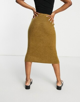 Monki Adina knitted lounge midi skirt in camel