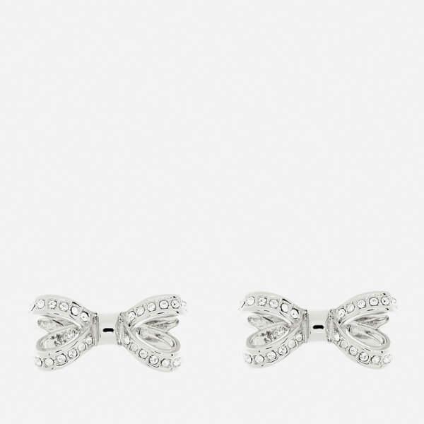 Ted Baker Women's Olitta Mini Opulent Pavé Bow Earrings - Silver/Crystal