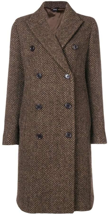 Aspesi double breasted herringbone coat