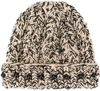 0711 Bead-Detail Knit Beanie