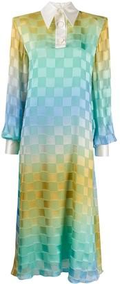 Rowen Rose Gradient Check Print Maxi Dress