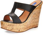 Dee Keller Tatum Patent-Cork Wedge Slide Sandal, Black