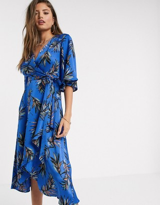 Liquorish midi wrap dress with waterfall sleeves in blue leaf print