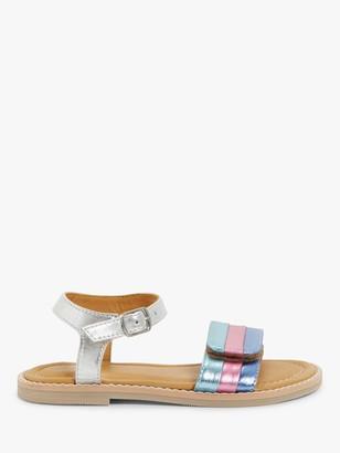 John Lewis & Partners Children's Metallic Stripe Sandals, Silver