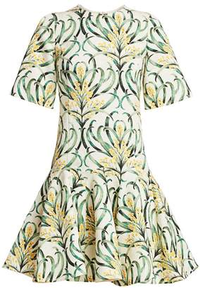 Oscar de la Renta Short-Sleeve Mimosa Stem Fit-&-Flare Dress