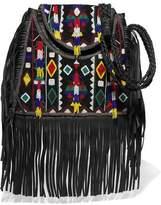 Antik Batik Fringed Embellished Cotton-Canvas And Leather Shoulder Bag