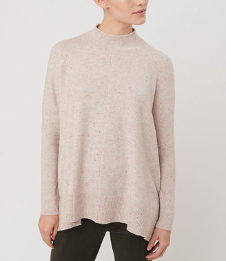 LOFT Flecked Rib Trim Poncho Sweater