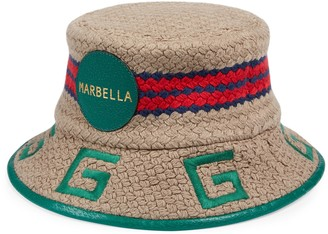 Gucci Marbella striped fabric fedora
