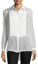 Haute Hippie Pleated Front Sheer Silk Tux Blouse, Swan