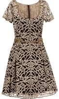 Marchesa Embroidered Tulle Mini Dress