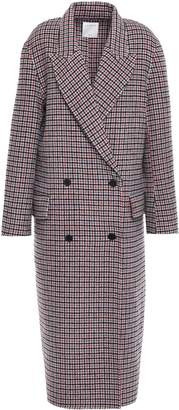 Sandro Double-breasted Checked Wool And Cotton-blend Felt Coat