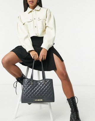 Love Moschino quilted tote bag in grey