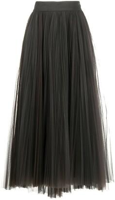 Brunello Cucinelli Tulle Pleated Midi Skirt
