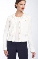 St. John Collection Fringe Trim Faux Pocket Jacket