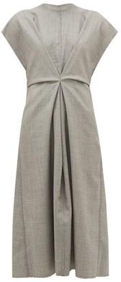Loewe Raw-edge Wool Dress - Womens - Grey