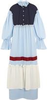 Vika Gazinskaya Ruffled Wool-blend Maxi Dress - Sky blue