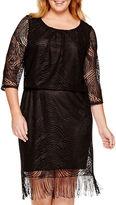 Tiana B 3/4-Sleeve Blouson Fringe Dress - Plus