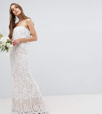 Jarlo Tall All Over Lace Bandeau Maxi Dress-White