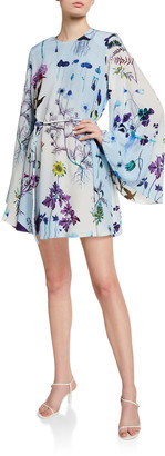 Stella McCartney Floral Print Silk Bell-Sleeve Mini Dress