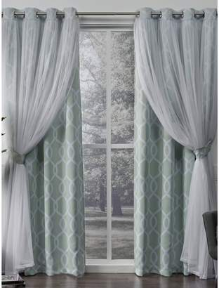 Home Outfitters Carmela Layered Geometric Blackout and Sheer Window Curtain Panel Pair with Grommet Top