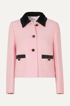 Miu Miu Sequin-embellished Velvet-trimmed Cady Jacket - Pink