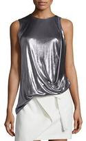 Halston Sleeveless Draped Metallic Jersey Top, Gunmetal