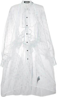 Miaoran Polda-Dot Chiffon Shirt Dress